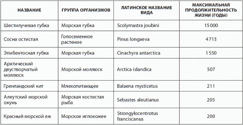 Таблица самых долгоживущих организмов планеты