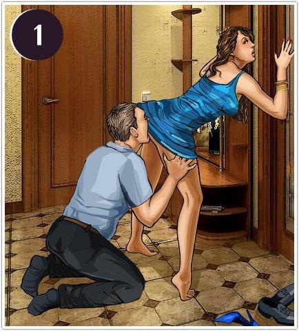 Спонтанный секс в прихожей